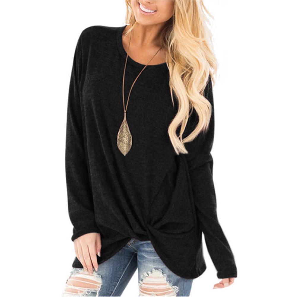 Women Autumn Winter Long Sleeve Casual T shirt Round Collar Loose Tops Blouse