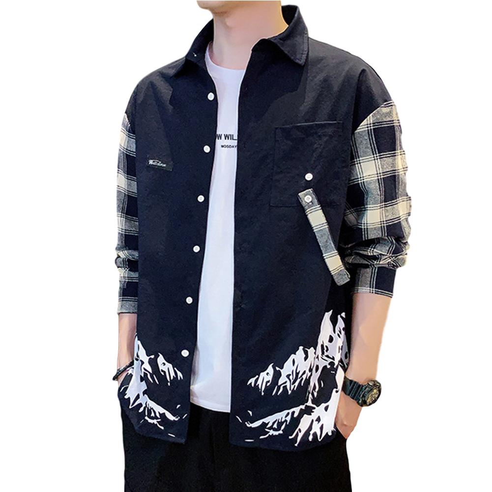 Men Plaid Printing Shirt Long Sleeve Autumn Teenagers Loose Blouse Navy_XL