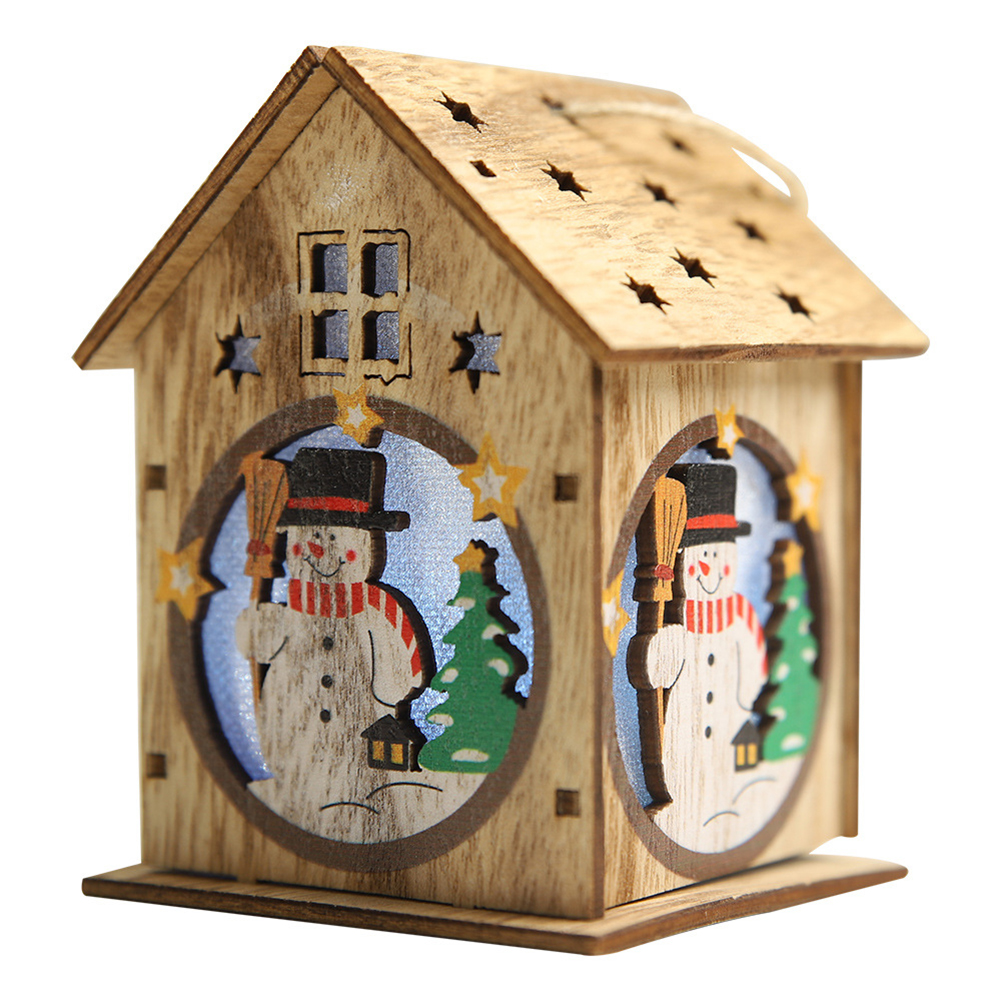 Cabin Shape Hanging Pendant with Light for Christmas Wooden Decoration Single-story roof snowman