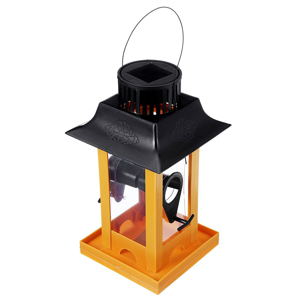 Pet Hanging Feeder with Solar LED Lamp for Outdoor Birds Parrot Supplies Home Garden Decor yellow