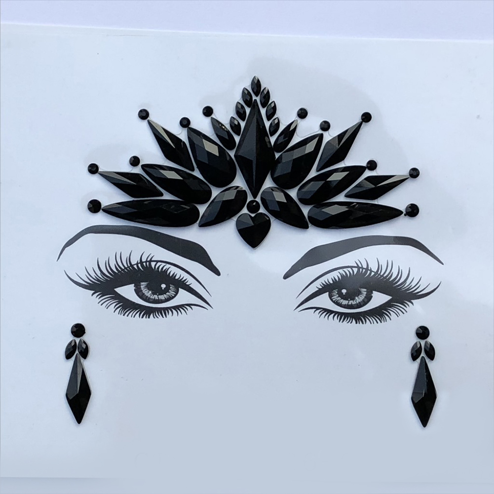 Music Festival Halloween Party Makeup Face Stickers 3D Face Tattoo Crystal Stickers 16.5*12.5