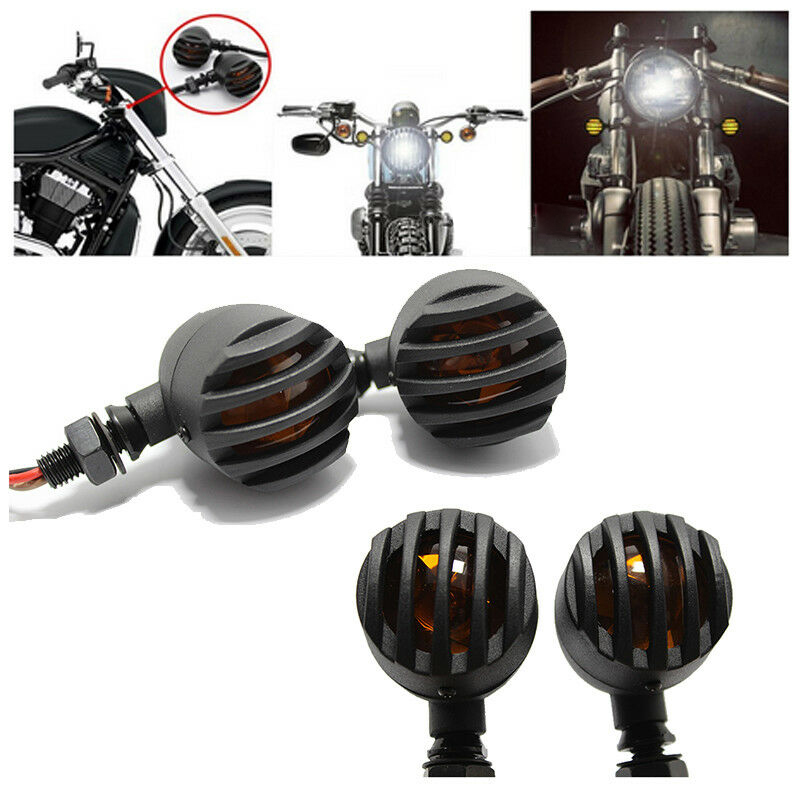 4pcs 12V Motorcycle Turn Signals Bullet Shape Blinker Indicator Lights Amber Lamps for Honda, Yamaha Suzuki Kawasaki  Ducati KTM BMW Triumph 4 pcs