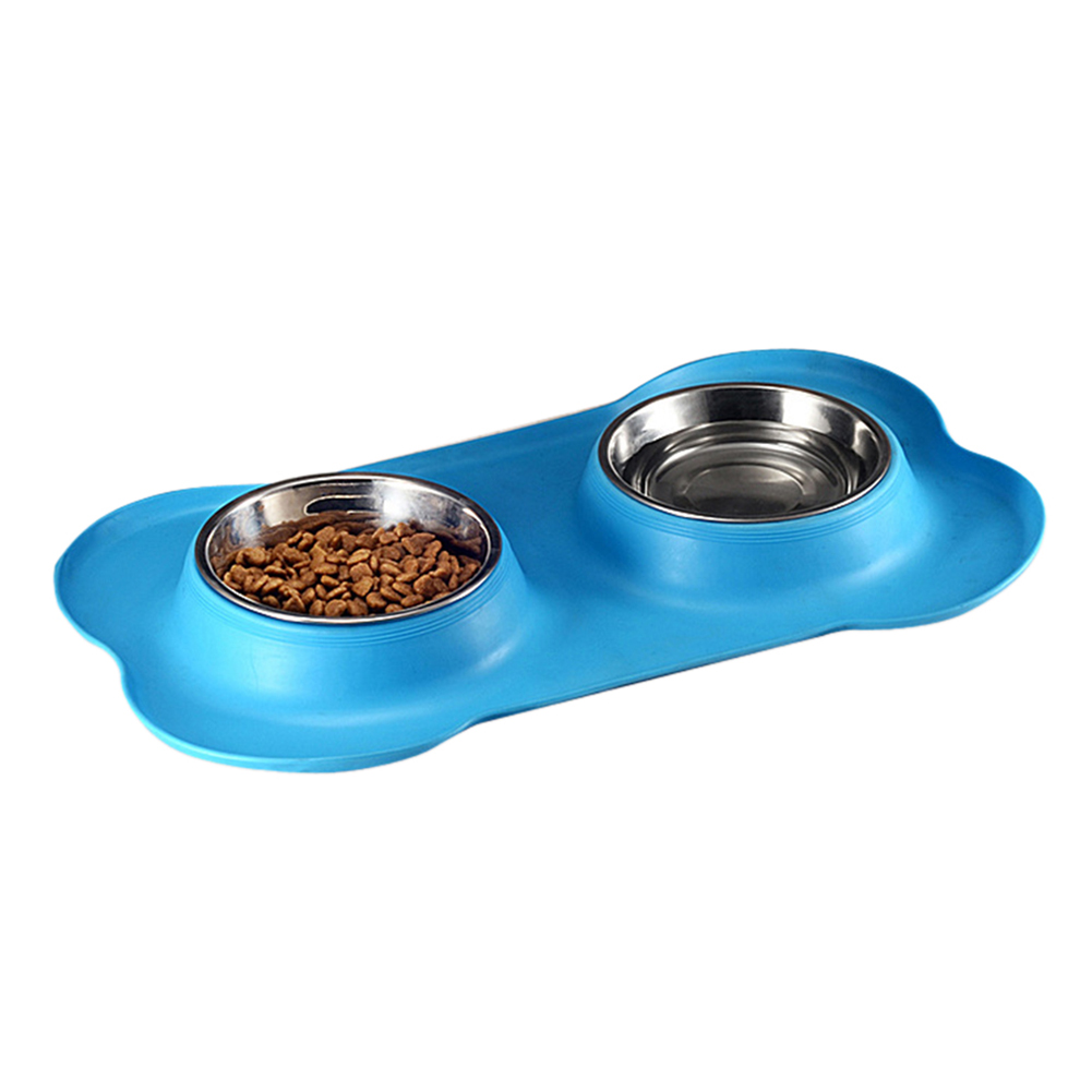 Nonslip Bone Shaped Double Bowl Food Water Feeder Feeding Dishes for Pet Dog Supplies blue_46*27cm