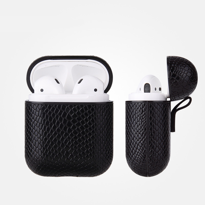 Luxury AirPods Case Leather Protective Cover Skin for Apple AirPod Charging Case black