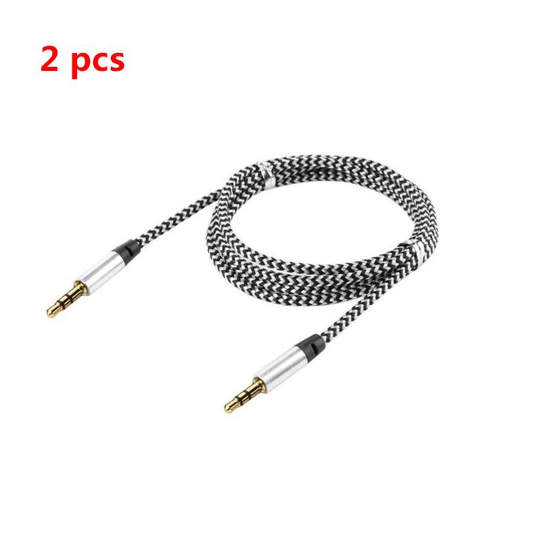 1 Pc/2 Pcs/3 Pcs 1M 3.5mm Jack Plug Aux Cable Audio Lead for to Headphone MP3 iPod PC Car  2 pcs