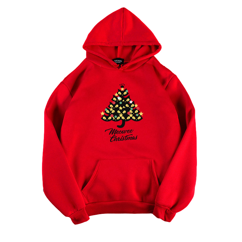 Women's Hoodies Autumn and Winter Loose Pullover Long-sleeves Padded  Hooded Sweater red_L