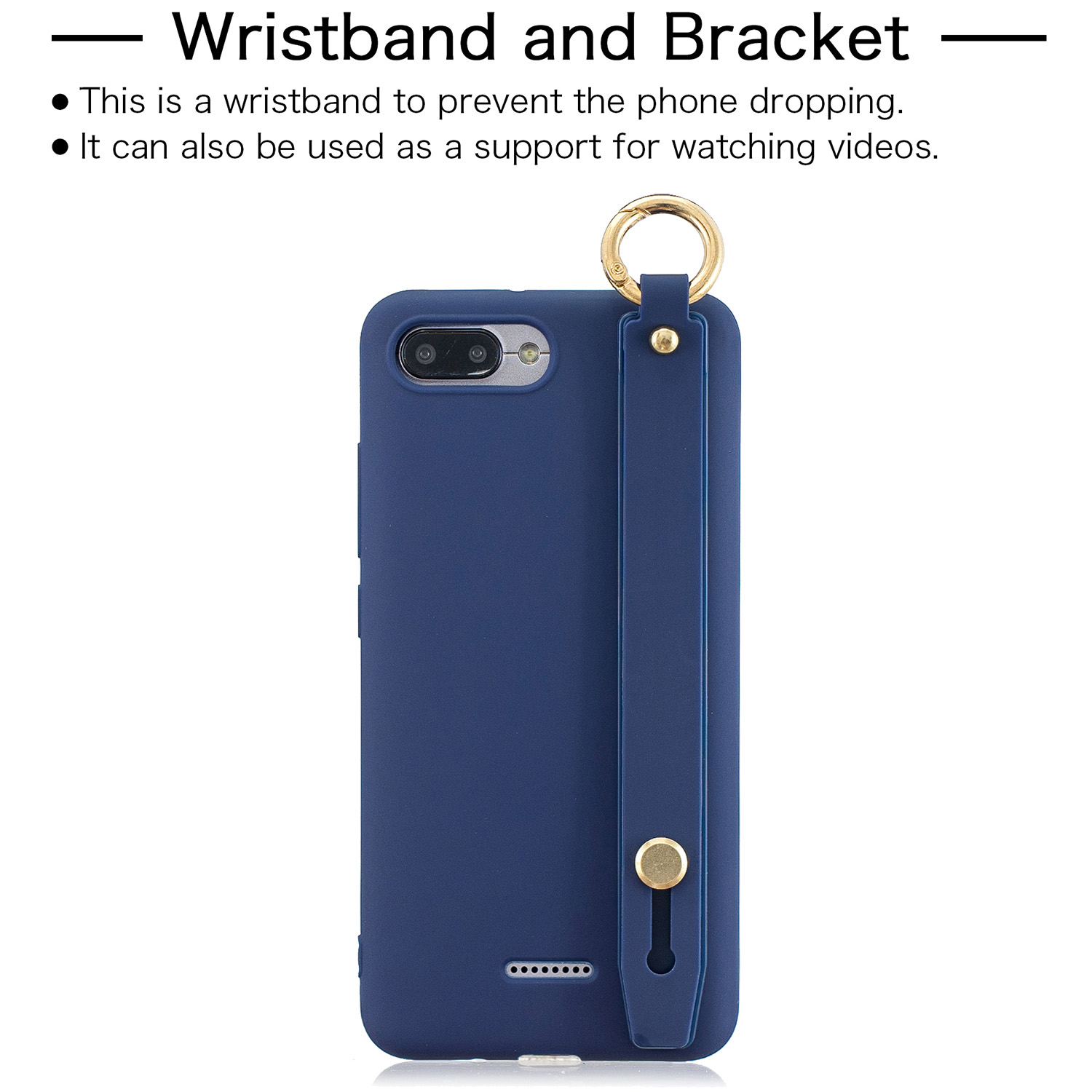 For Redmi 6A Simple Solid Color Chic Wrist Rope Bracket Matte TPU Anti-scratch Non-slip Protective Cover Back Case 7 royal blue