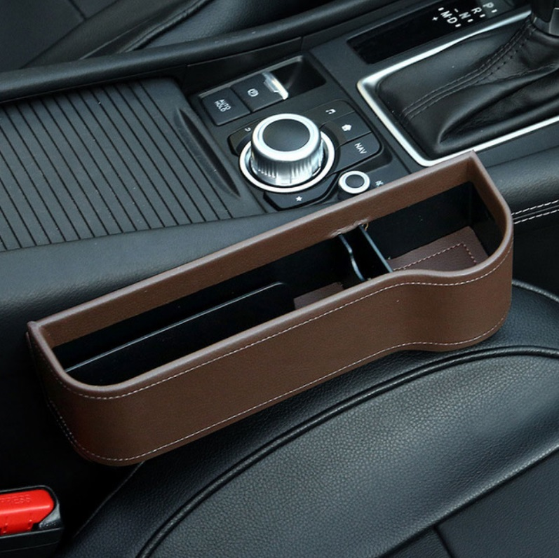 Multifunction Leather Storage Box for Car Seat Side Gap Leather brown copilot