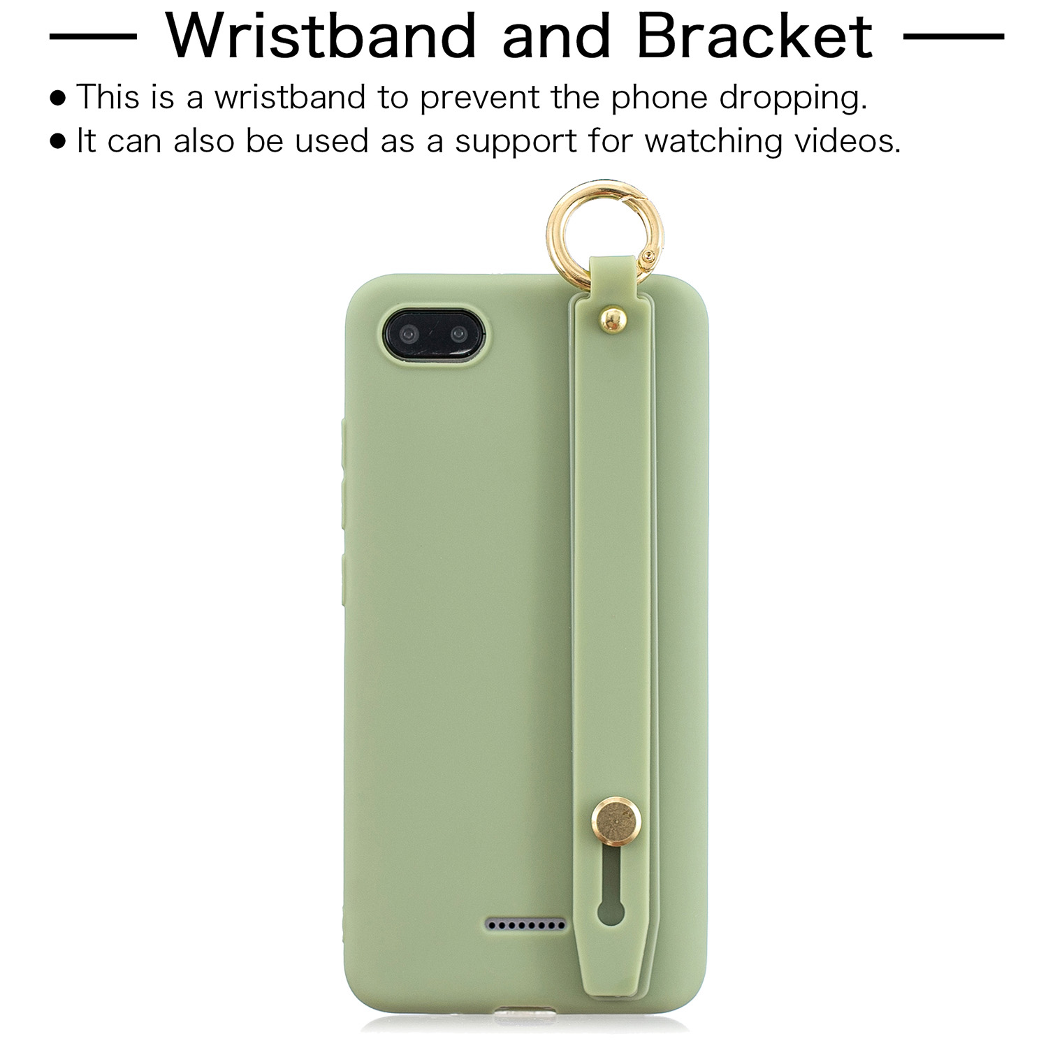 For Redmi 6A Simple Solid Color Chic Wrist Rope Bracket Matte TPU Anti-scratch Non-slip Protective Cover Back Case 10 beans green