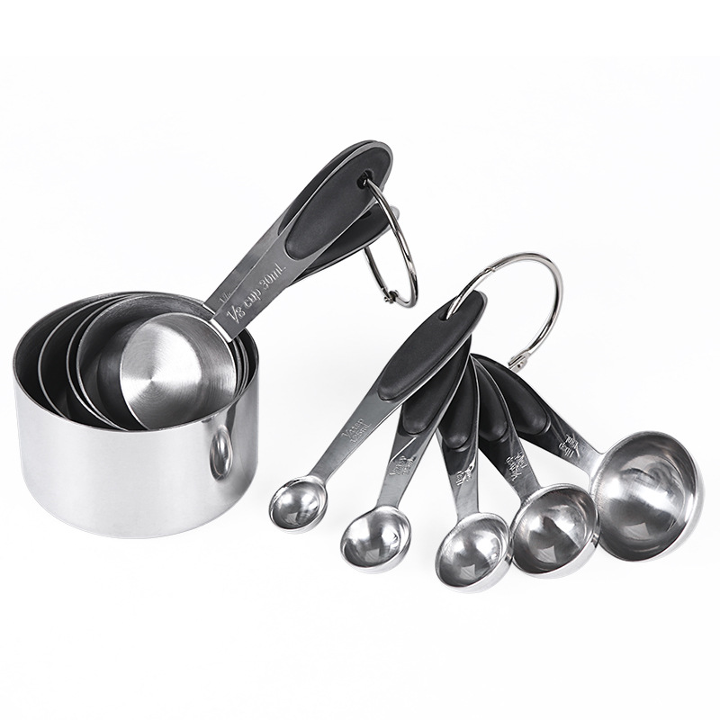 10Pcs/Set Stainless Steel Measuring Cups Spoons Set with Silicone Insulation Pad Baking Tools Color box black