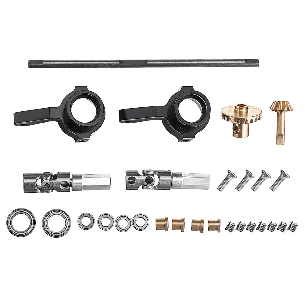 WPL Copper Gear Front Bridge Axle+Drive Shaft Steering Cup for B14 B24 B36 C14 C24 RC Car as shown