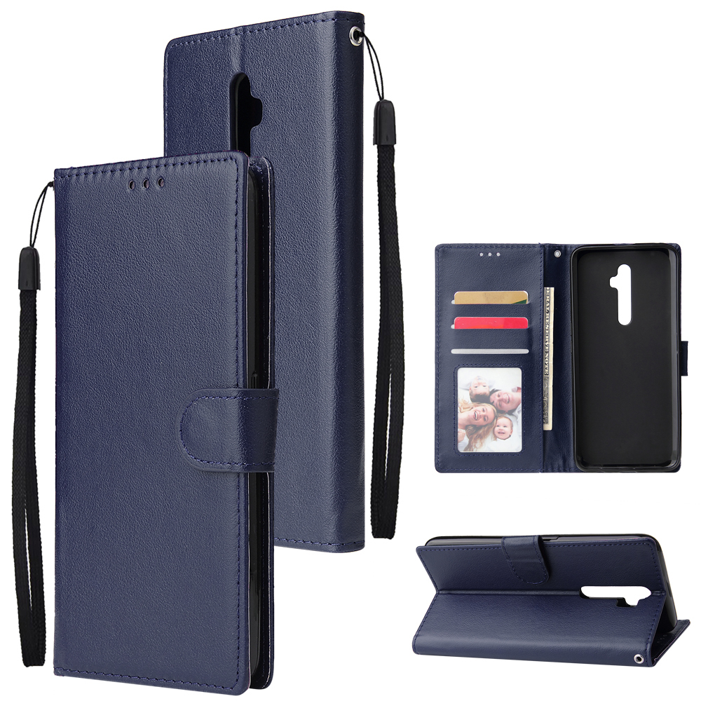 For Oppo A9 2020/Reno 2Z Cellphone Shell PU Leather Mobile Phone Cover Stand Available Anti-drop Elegant Smartphone Case Blue
