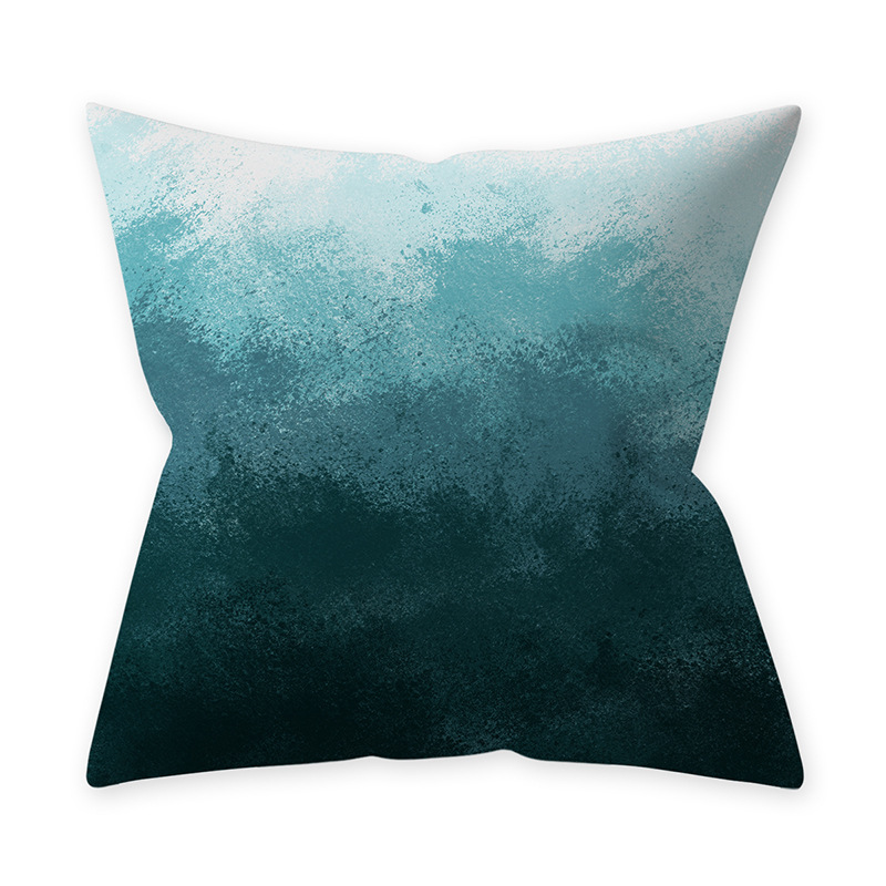 Home Teal Blue Series Printing Throw Pillow Cover for Decoration 16#_45*45cm