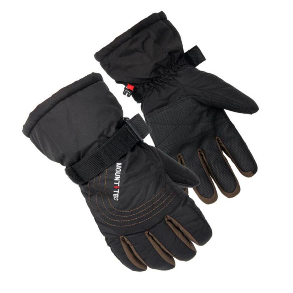 Couple Man Women Winter Thickening Velvet Waterproof Warm Ski Riding Hiking Gloves Black brown S-07_XL