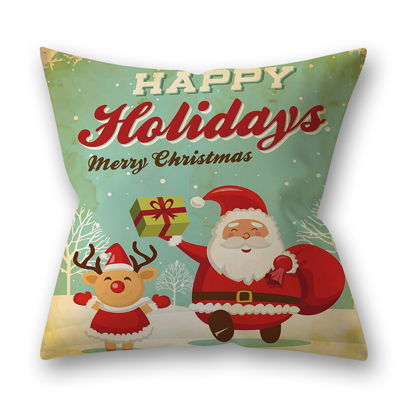 Decorative Polyester Peach Skin Christmas Series Printing Throw Pillow Cover 4#_45*45cm