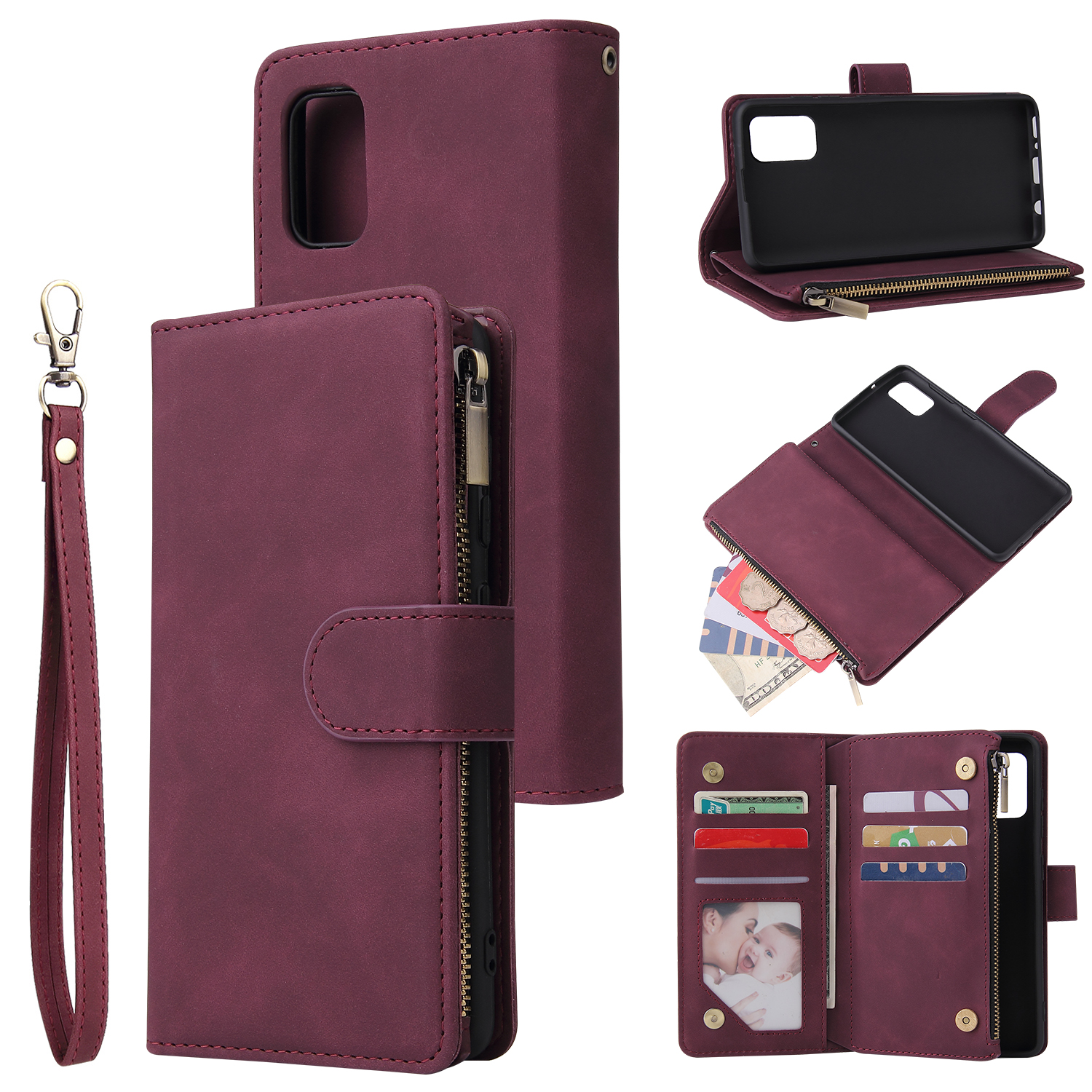 For Samsung A41 Mobile Phone Case Wallet Design Zipper Closure Overall Protection Cellphone Cover  5 wine red