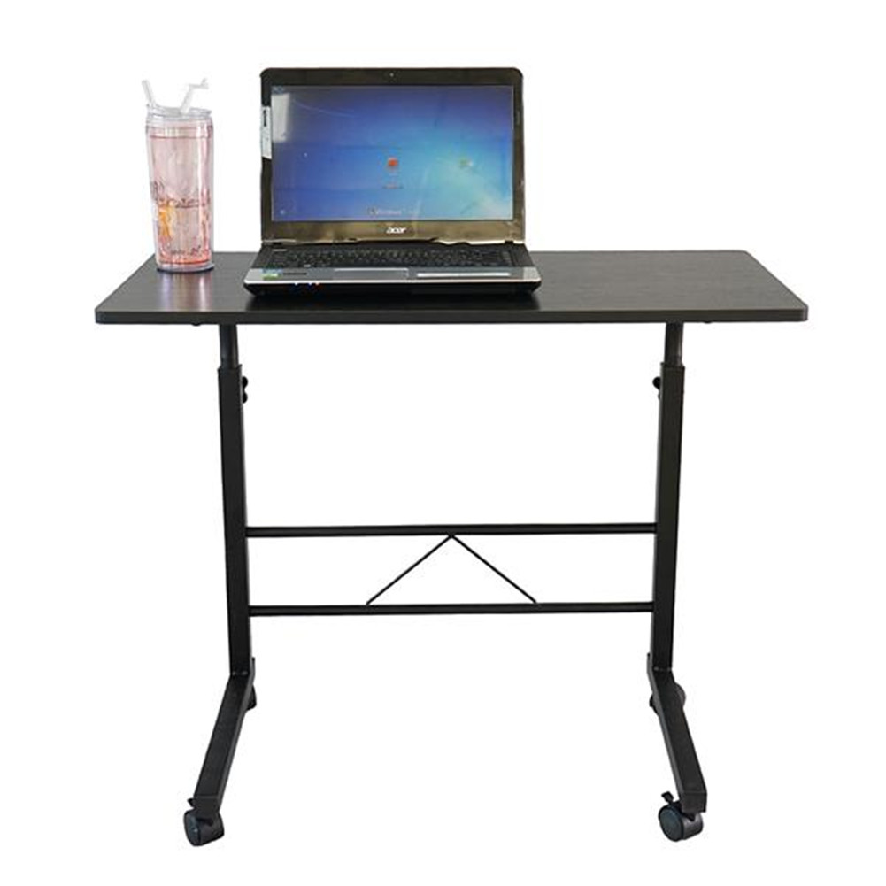 [US Direct] Height Adjustable Sofa Side Table With Wheels Rolling Coffee Snack Table For Living Room Bedroom black