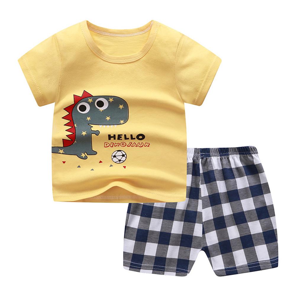 2Pcs Unisex Baby Short Sleeved Tops+Shorts Cartoon Pattern Clothes Children Home Wear A_80