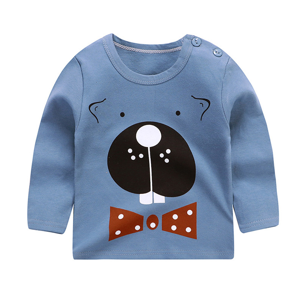 Children's T-shirt  Long-sleeved Cartoon Print All-match Top for 1-5 Years Old Kids C _80cm