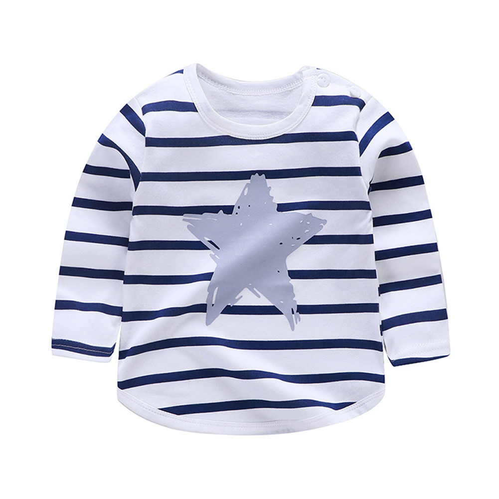 Children's T-shirt  Long-sleeved Cartoon Print All-match Top for 1-5 Years Old Kids E _80cm