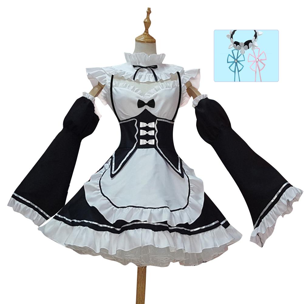Women Halloween Cosplay Costume Maid Outfit white_XXXL