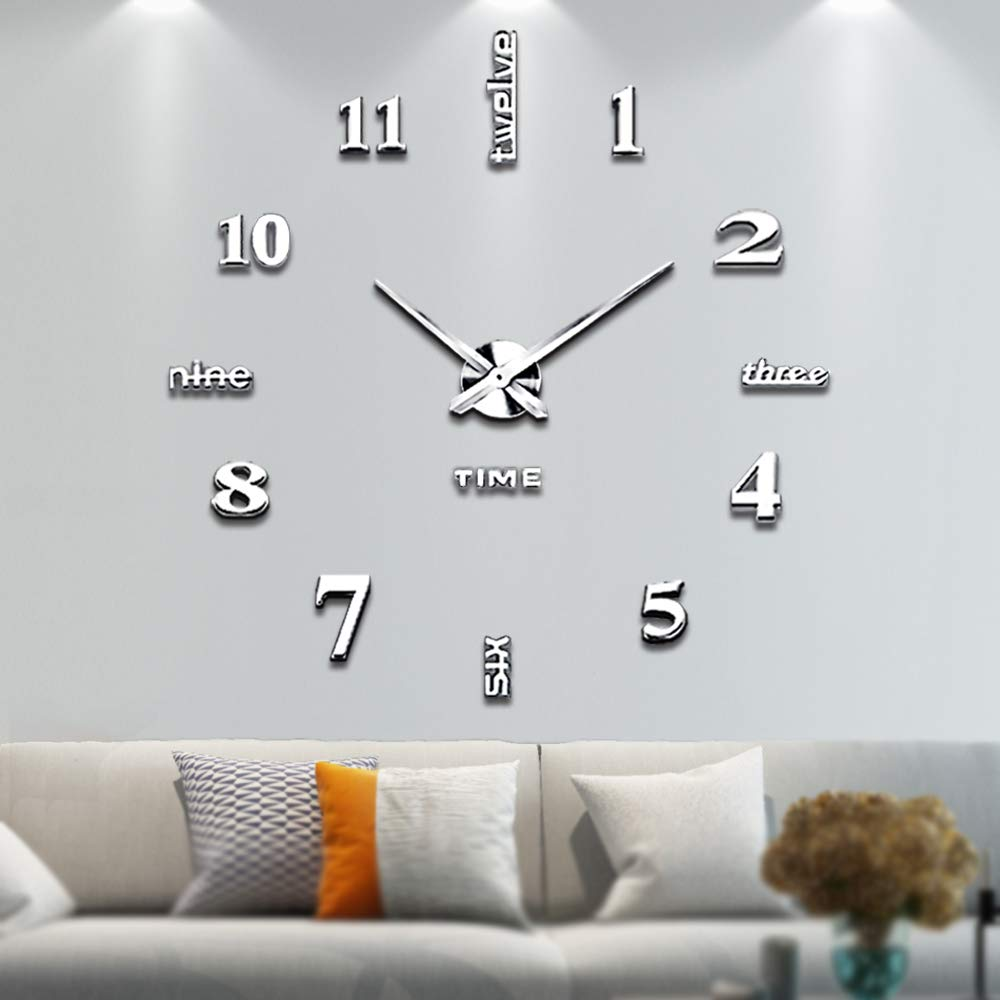 Living Room Large Mirror Clock Art Design 3D DIY EVA Hanging Wall Clock Silver mirror