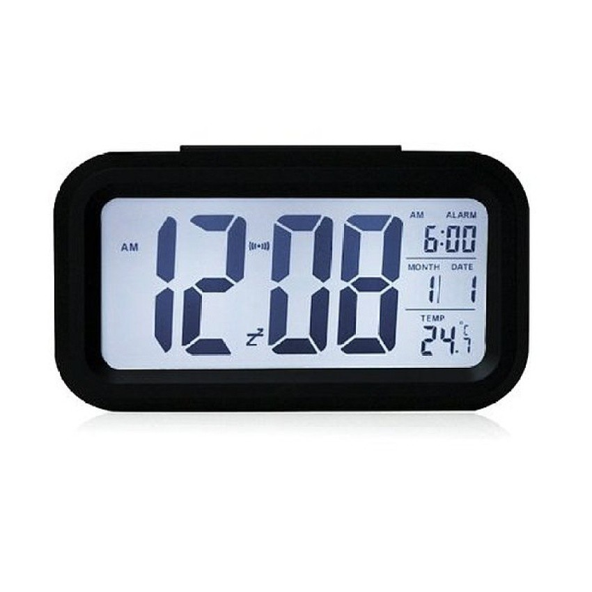 Snooze Temperature Display Alarm Clock Mute Backlight Electronic Creative Digital Clock Gift black