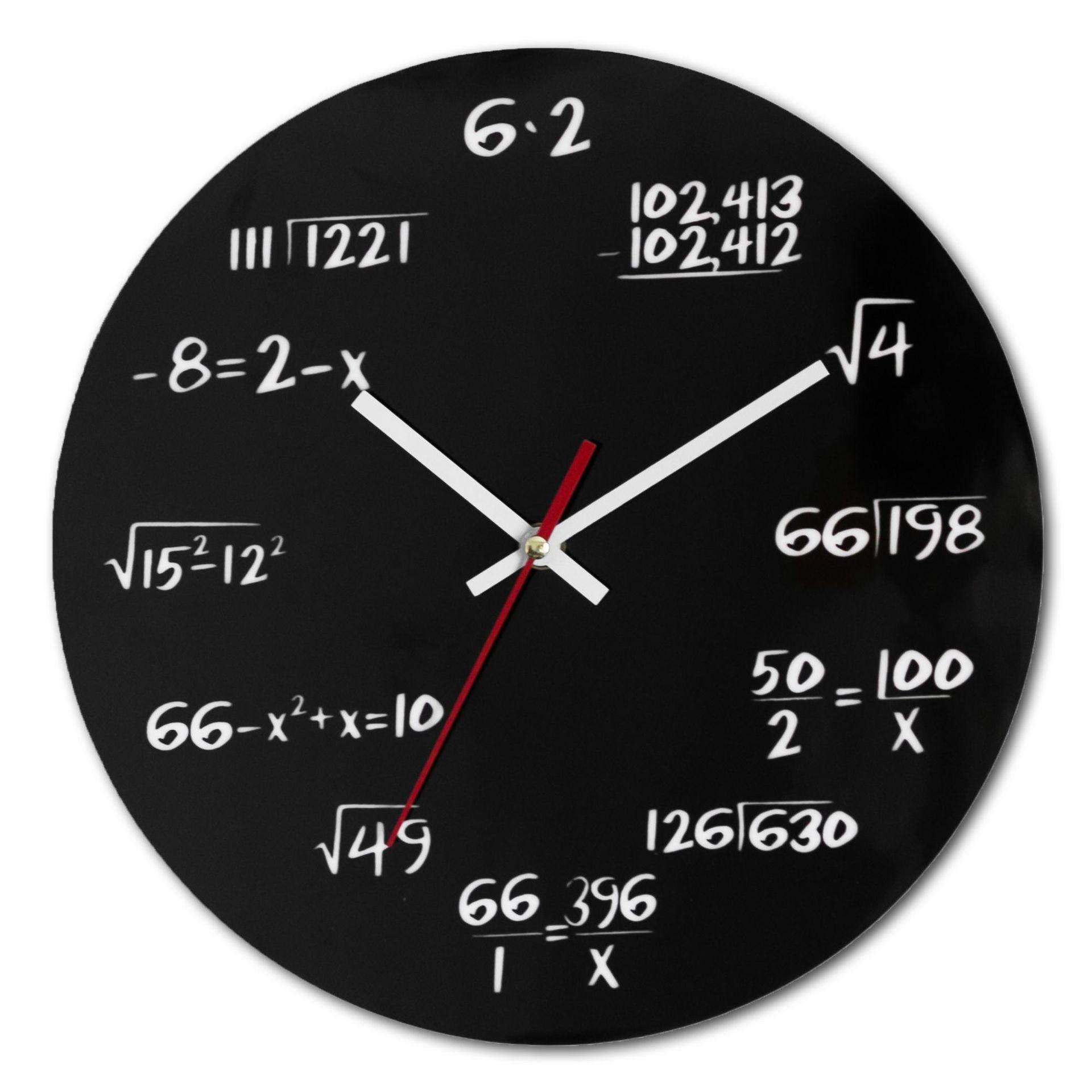 Creative Math Clock Mathematics Formula Wall Clock Silent Home Office Decoration black