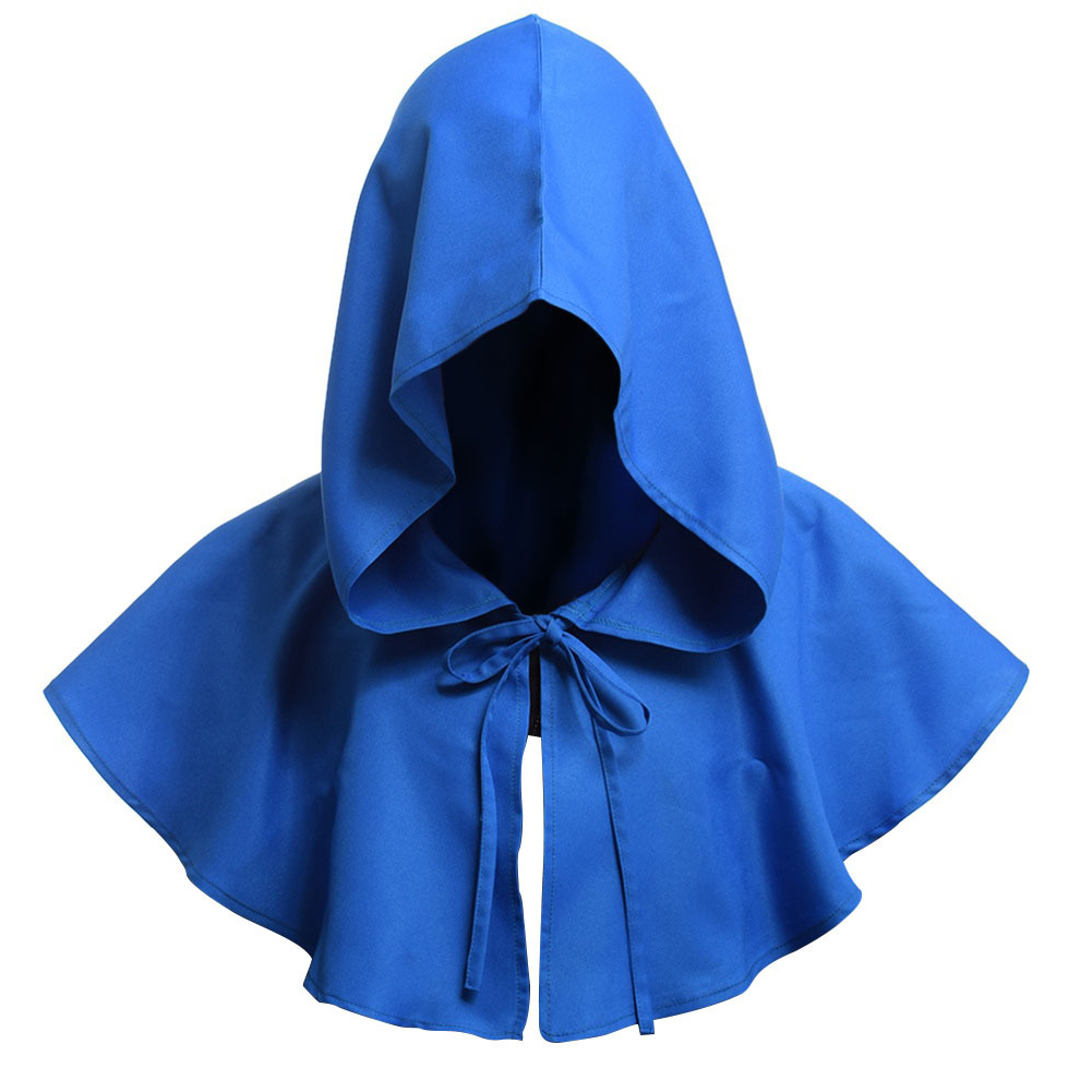 Men Women Medieval Windcap Halloween Witch Hooded Cloak Cape Witchcraft Pagan Role Playing blue_One size