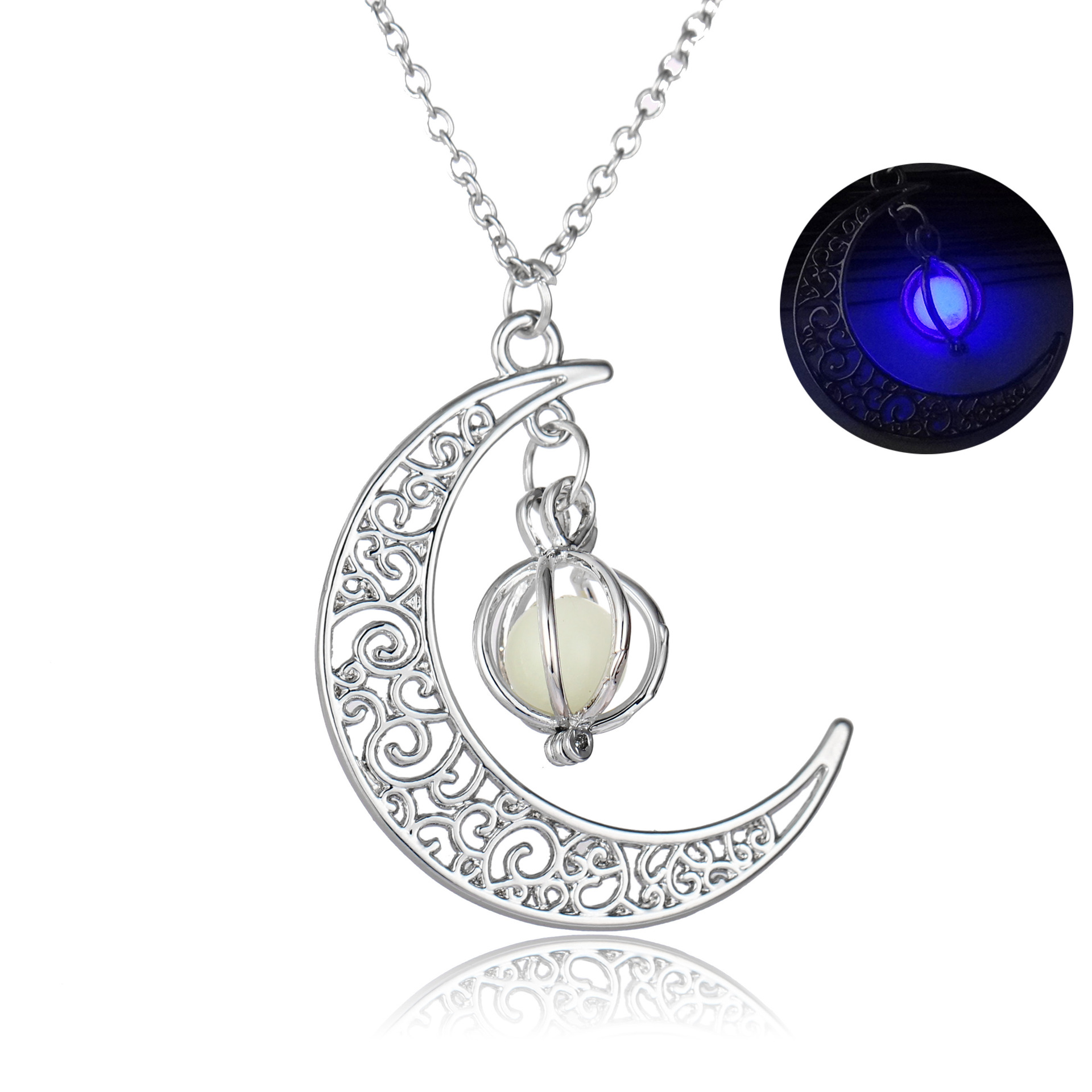 Halloween Decorations Gifts Ornaments Christmas Gifts Glowing Moon Pumpkin Creative Pendant Sky Blue Luminous Women Necklace  NY355_Purple