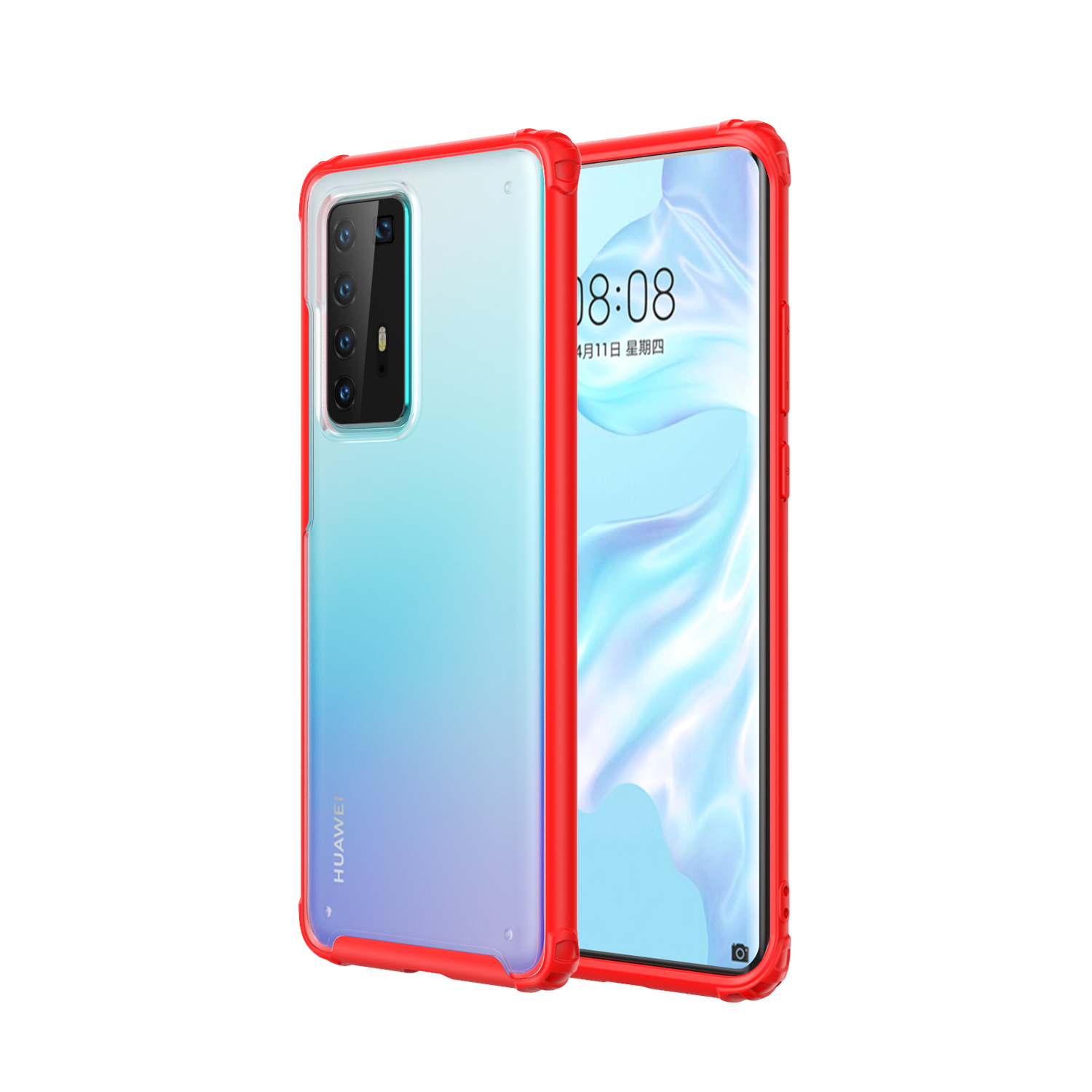 For HUAWEI P40 Pro Case PC Matte bottom TPU Soft Edge Cover Shockproof Mobile Phone Cover red
