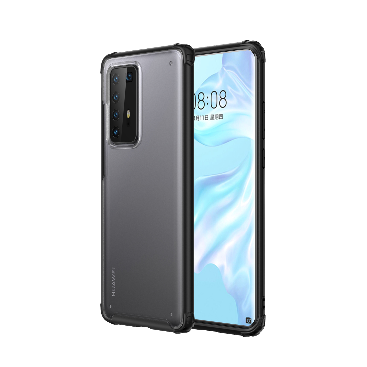 For HUAWEI P40 Pro Case PC Matte bottom TPU Soft Edge Cover Shockproof Mobile Phone Cover black
