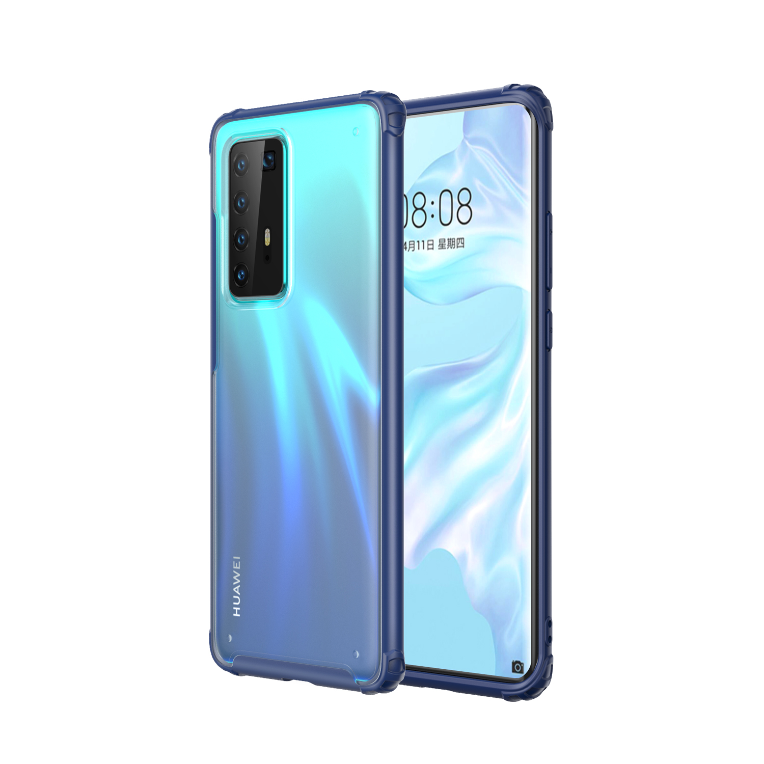 For HUAWEI P40 Pro Case PC Matte bottom TPU Soft Edge Cover Shockproof Mobile Phone Cover blue