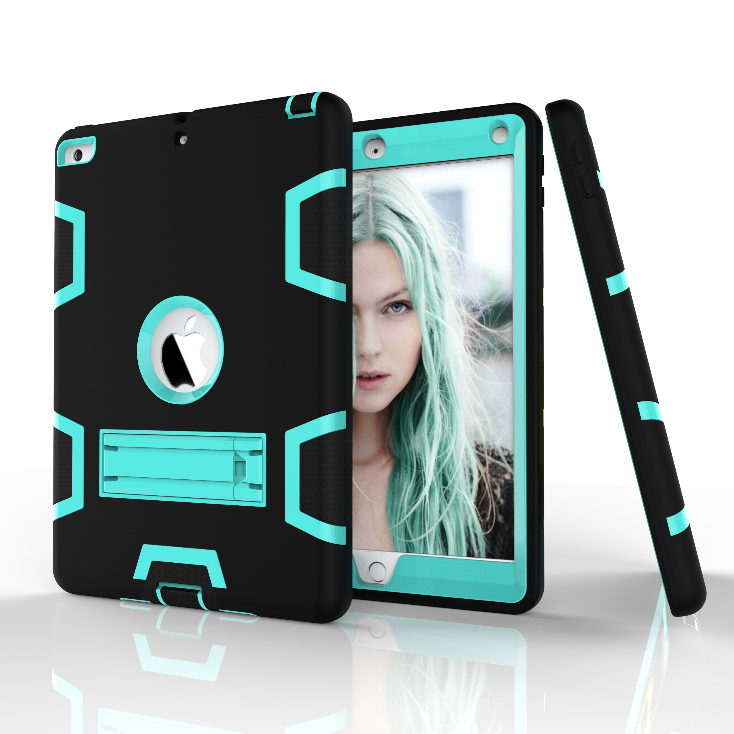 For iPad 2/3/4 PC+ Silicone Hit Color Armor Case Tri-proof Shockproof Dustproof Anti-fall Protective Cover  Black + mint green