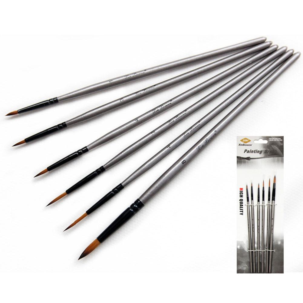 6pcs/set Nylon Delineating Line Pen Professional Painting Brush Silver