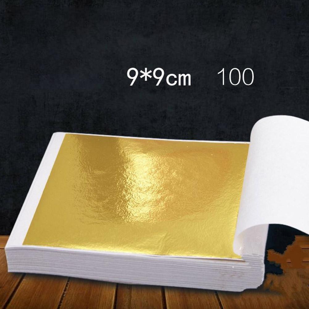 100 Pages 24K Gold Leaf Art Design Gold-Plated Frame Decorative Materials Gold