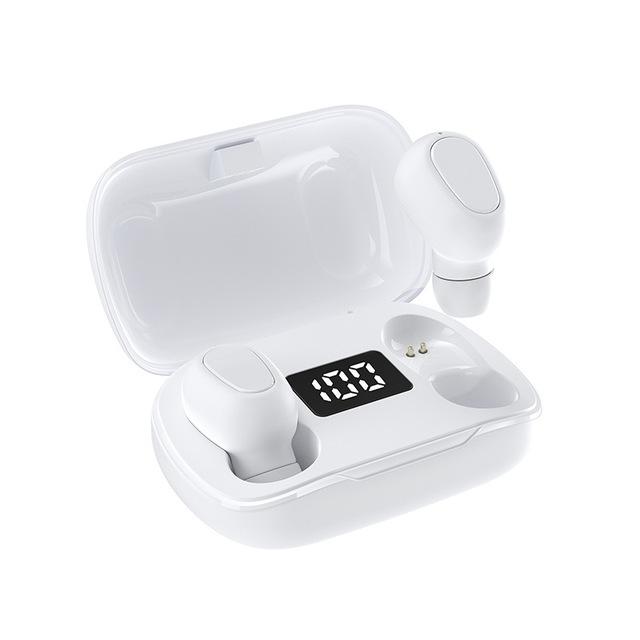 Bluetooth 5.0 Earphone Wireless LED Display L21 pro TWS Stereo Sport Waterproof Earbuds Headset white