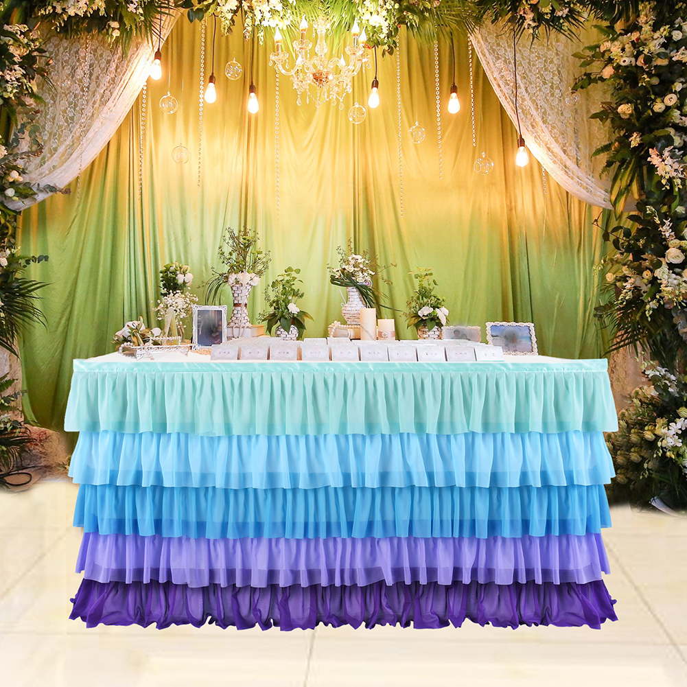 5Layers Violet Blue Splicing Chiffon Table Skirt for Wedding Party Decor Violet blue_6FT