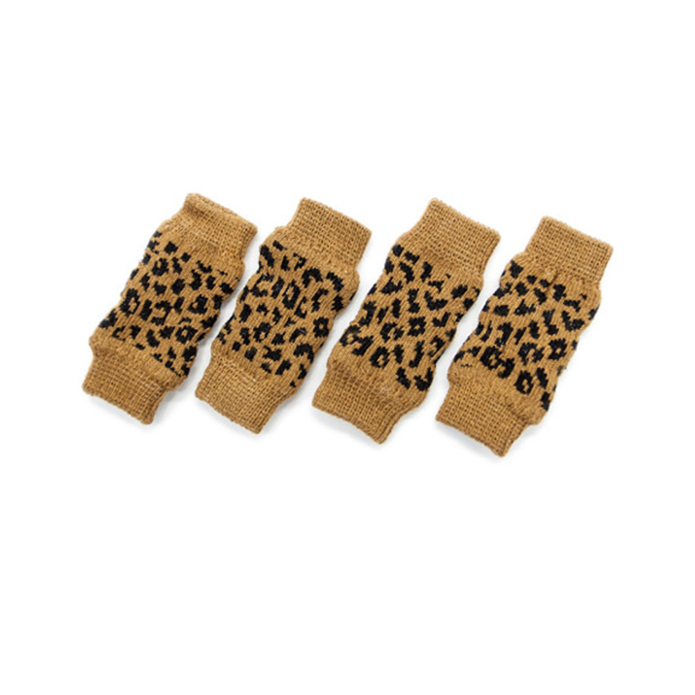 Pet Dog Cat Socks Outdoor Warm Cotton Socks Leg Antifreeze Leopard print (four packs)_M