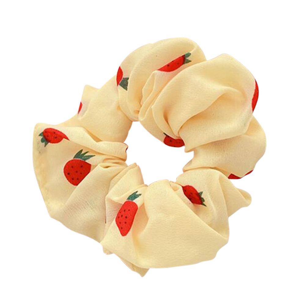 Hair Rope Strawberry Pattern Chiffon Scrunchies Elastic Hair Band yellow