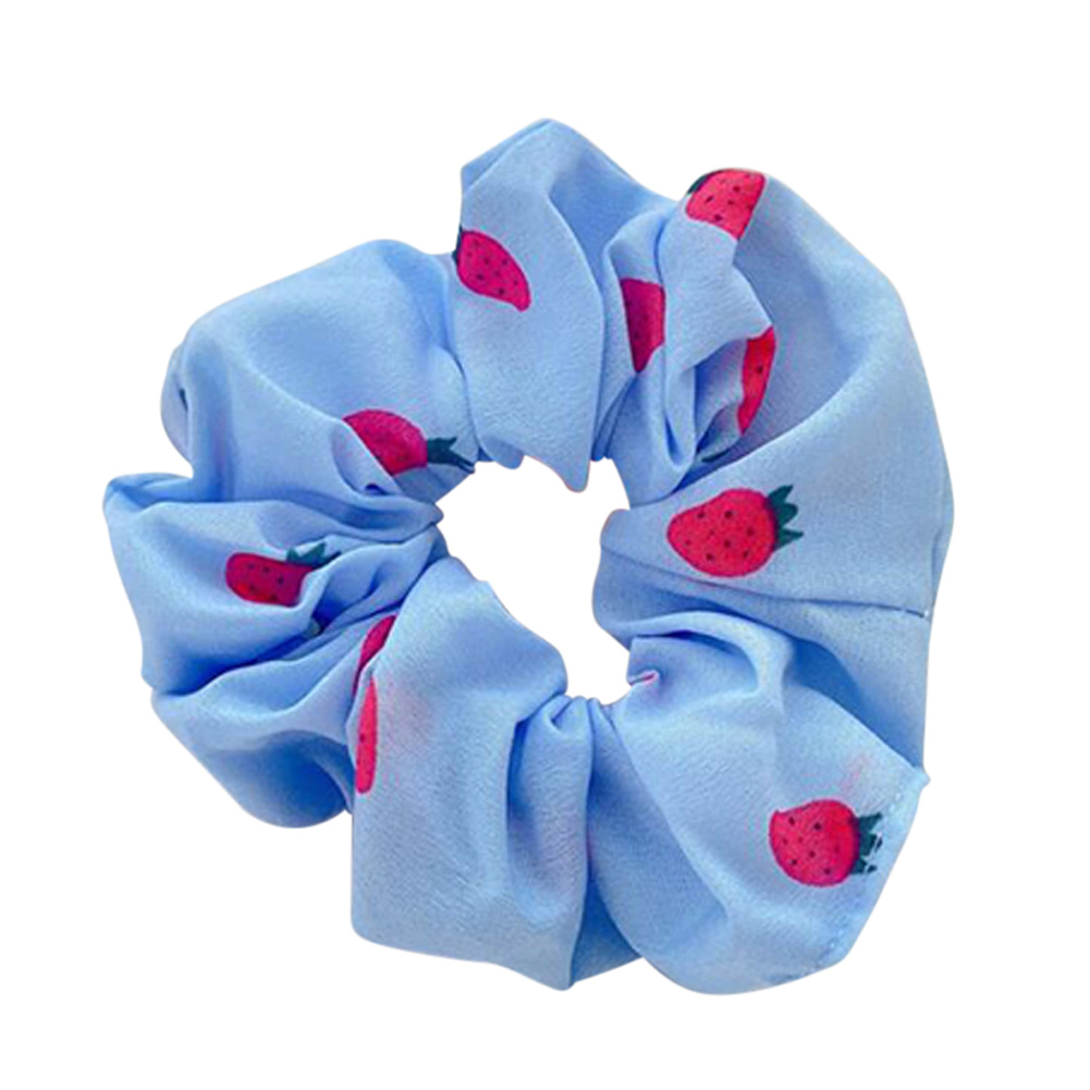 Hair Rope Strawberry Pattern Chiffon Scrunchies Elastic Hair Band blue