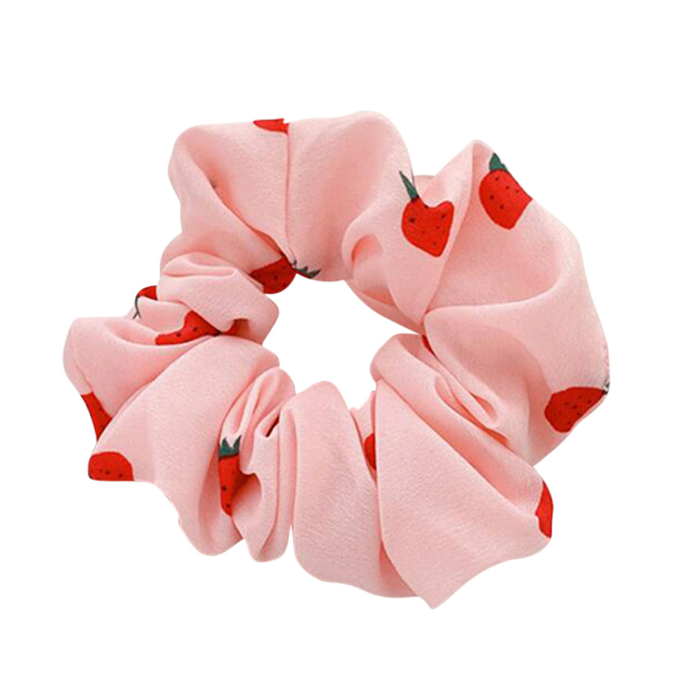 Hair Rope Strawberry Pattern Chiffon Scrunchies Elastic Hair Band Pink
