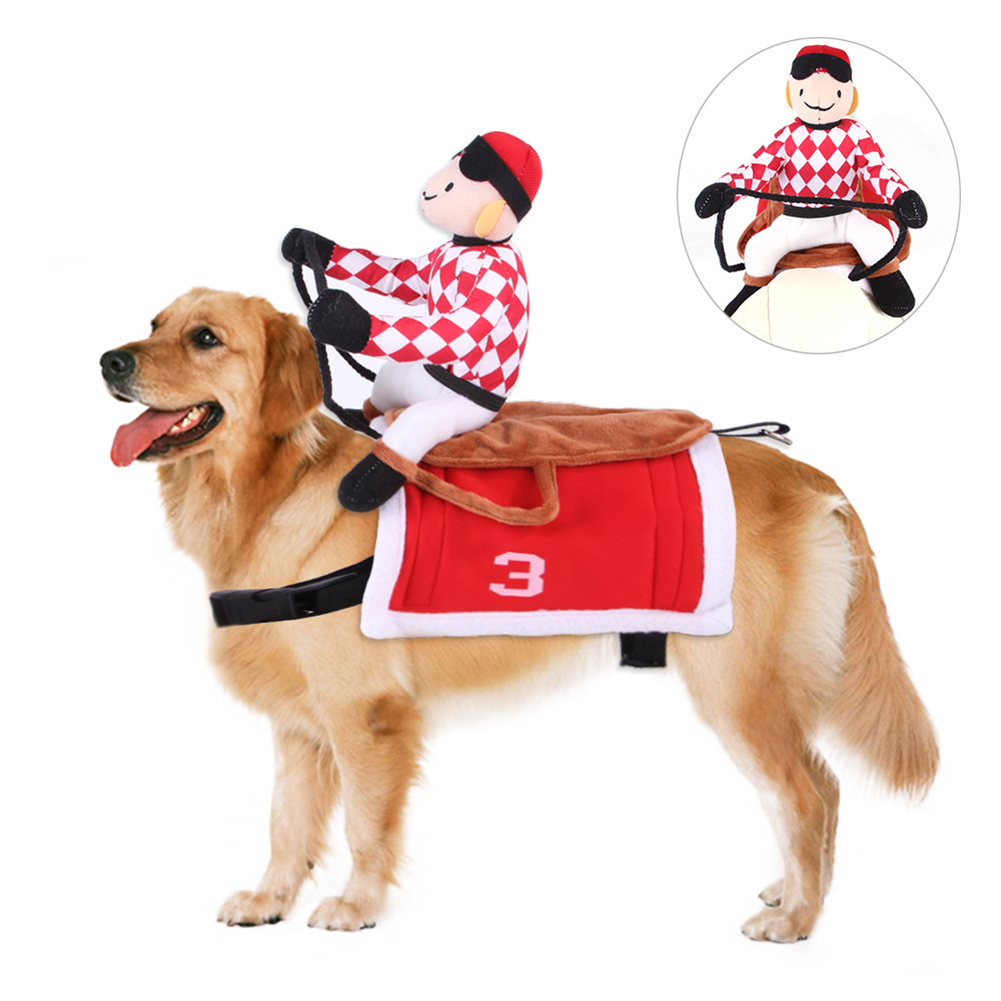 Cartoon Horse Riding Clothes Pet Cotton Cospaly Costume for Dogs Halloween Party red_L