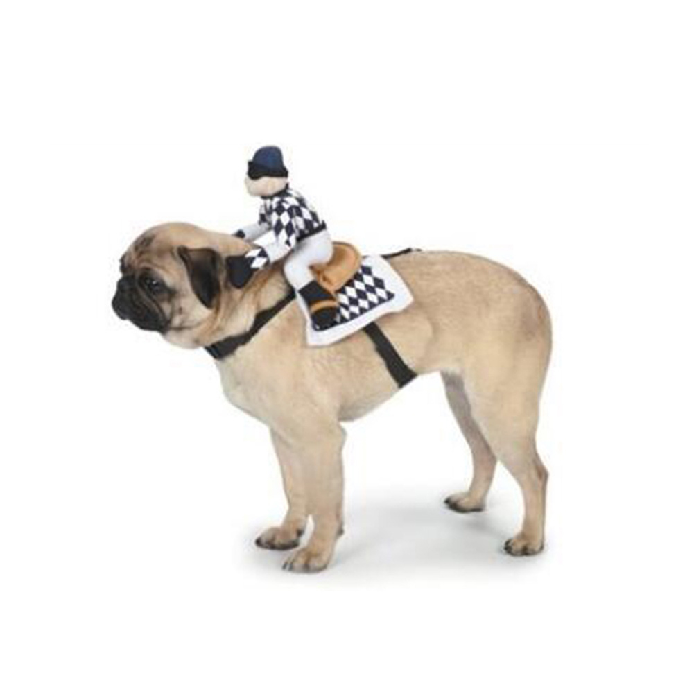 Cartoon Horse Riding Clothes Pet Cotton Cospaly Costume for Dogs Halloween Party black_XL