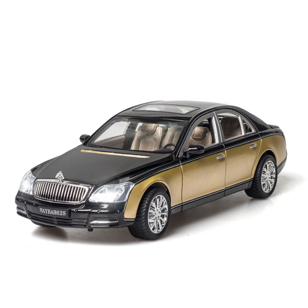 Simulate Car Model 1/24 Maybach 62s Alloy Car Model Sound Light Metal Toy Champagne Gold