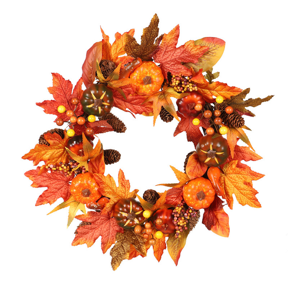 Silk Fall Door Wreath Autumn Berries and Maple Leaf Enhance Home Decor Round  Maple Leaf Wreath)