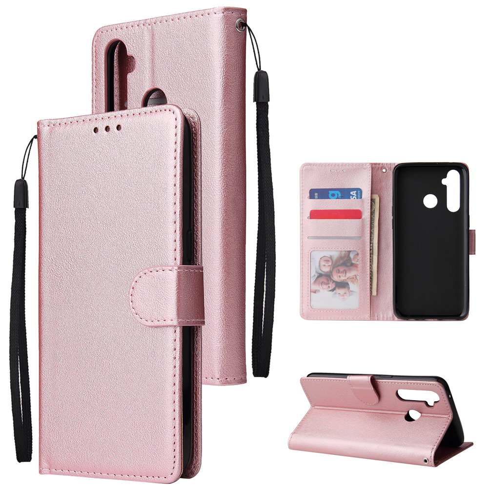 For OPPO Realme 5 Rro Cellphone Cover Buckle Closure Cards Holder Wallet Design Stand Function PU Leather Smart Shell Overall Protection  Rose gold