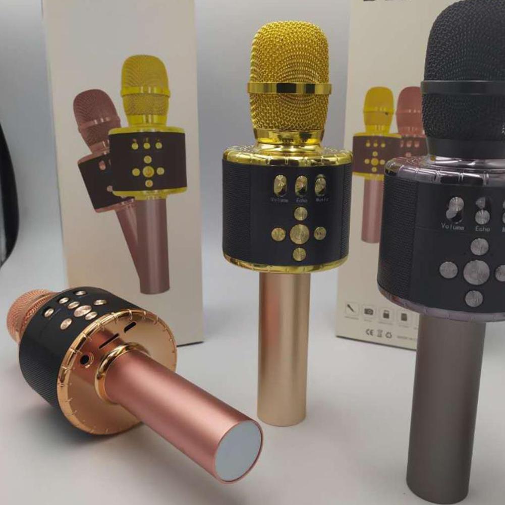 Wireless Bluetooth Microphone Mobile Phone FM Magic Sound Colorful Lantern D18 Microphone Handheld Audio Black