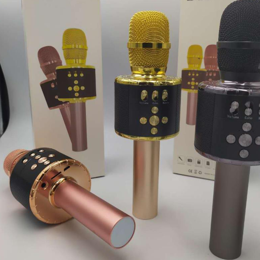 Wireless Bluetooth Microphone Mobile Phone FM Magic Sound Colorful Lantern D18 Microphone Handheld Audio Gold