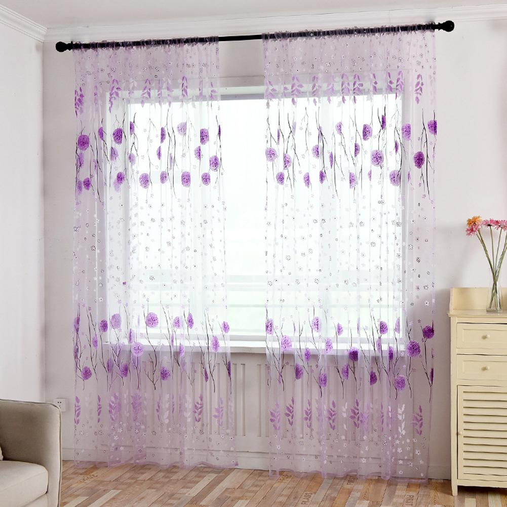 Printed Tulle Transparent Window Screen Bedroom Balcony Curtain purple_W100cm * H200cm